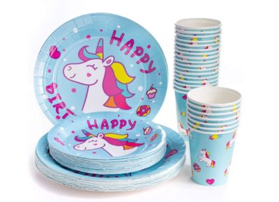 AMAZON: Unicorn Disposable Paper Plates, Cups & Dessert Plates (Serves 24) for $9.99 Shipped! (Reg. Price $19.99)