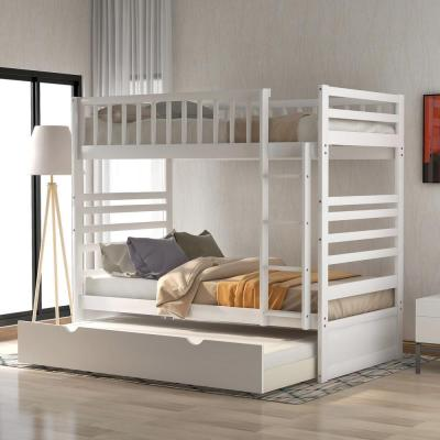Home Depot: White Twin Over Twin Solid Wood Bunk Bed w/ Trundle For $394 (Was $527)