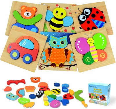 Amazon: Wooden Jigsaw Puzzles, Toys for Toddlers, 6 Pcs Shapes $8.5 ($20)