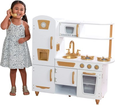 Amazon: Modern White Play Kitchen with Gold Accents & 27 Piece Cookware Set for $89.10 (Reg.Price $129.99)