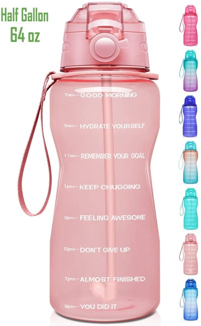 Amazon: Motivational Water Bottle with Time Marker & Straw for $12.34 (Reg.Price $18.99)