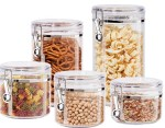 Amazon: 5 Pcs Oggi Acrylic Canister Set with Airtight Clamp Lids For $24.99