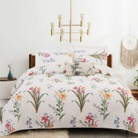 Amazon: Botanical Flowers Bedspread 3 Pcs Quilted Coverlet Set $19.35 ($44)