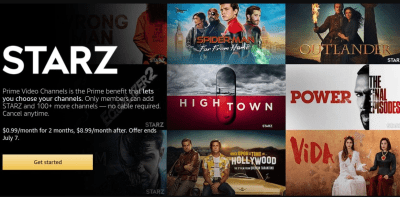Amazon Prime Members can get 2 months of Starz or Showtime for only $0.99 per month!