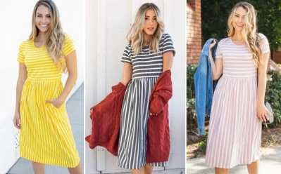 Jane: Striped Midi Dress for ONLY $18.99 + FREE Shipping (Regularly $37)