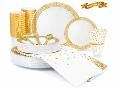 Amazon: 200 Piece Gold Lace Rim Dinnerware Set – for $22.40 (Reg. Price $79.99)