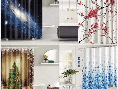 Amazon: Bath Curtain Set with 12 Hooks For $10.49 - $10.99