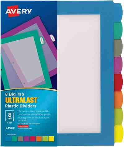 Amazon: Avery 8-Tab Ultralast Plastic Binder Dividers $8.64 (Reg. $10.80)