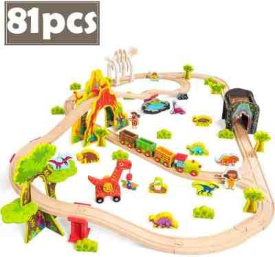 Amazon: Dinosaur Theme Wooden Train Set - 81 pcs, Just $20 (Reg. $50) after code!