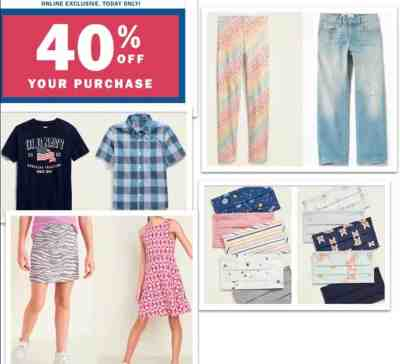 Old Navy: Kids and Adults Items, Upto 80% off clearance sale!