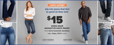 Jeans Starting at $8(All $15 and Under) for Men, Women and /Kids