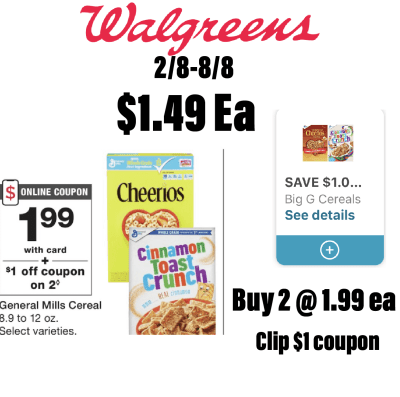 2-Cheerios Cereal For $1.49 Each!!