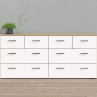 Tvilum Space 8 Drawer Double Dresser, Oak Structure/White $158.81!!