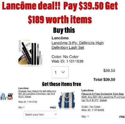 Lancôme Deal! Pay $39.50 For $189 Worth Of Items!!