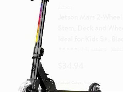 Walmart: Jetson Mars 2-Wheel Folding Kids Kick Scooter with LED Light-up Stem, Deck Wheels, Adjustable Handlebars, Rear Foot Brake, Black Just $34.94