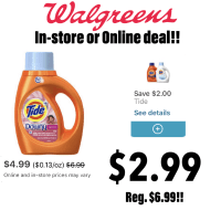Walgreens : Tide Liquid Detergent For $2.99(Reg.$6.99)