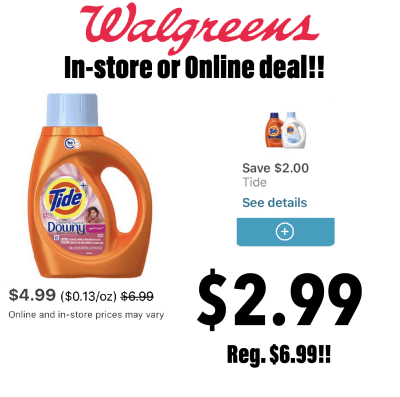 Walgreens : Tide Liquid deterent For $2.99(Reg.$6.99)