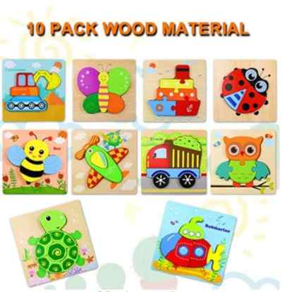 Amazon: 10Pack Toddlers Wooden Puzzle for $16.95 Reg. Price $19.95)