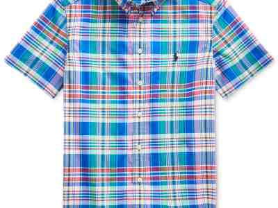 Macy's: Polo Ralph Lauren Big Boys Plaid Cotton Poplin Shirt Only $11.23 At (Reg.$45.00)