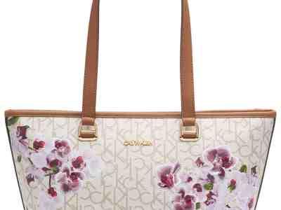 Macy's: Calvin Klein Janae Orchid Logo Tote Handbag Only $63.03 At (Reg.$158.00)
