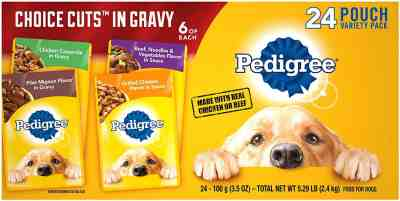 Amazon: 24 Count Pedigree Choice Cuts in Gravy Adult Wet Dog Food Variety Packs, 3.5 Oz for $7.99 (Reg.Price $14.59)