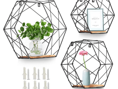 Amazon: Wall Mounted Hexagonal Floating Shelves, Set of 3 - 40% OFF W/Code