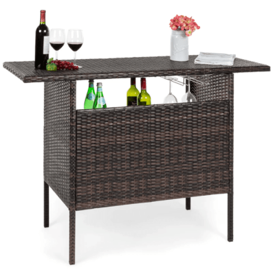 BCP: Outdoor Wicker Bar Counter Table – 2 Steel Shelves + 2 Rails ONLY $139.99 (Reg $220)