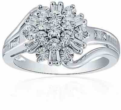 Belk: Belk & Co. 1/10 Ct. T.W. Diamond Cluster Ring In Sterling Silver For $81.24 (Reg. $350