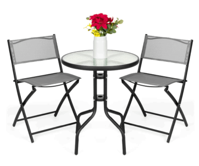 BCP: 3-Piece Bistro Set – Glass Table + 2 Foldable Chairs ONLY $89.99 (Reg $130)