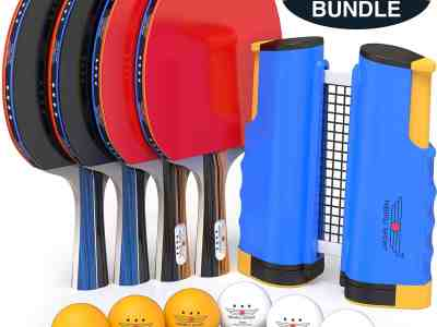 Amazon: Professional Ping Pong Paddle Set w/ Retractable Net $25.8 ($44)