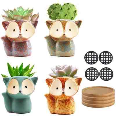 Amazon: Set Of 4 Pots Small Succulent Planters Ceramic Flower Pot $8.94 (Reg $17.9)