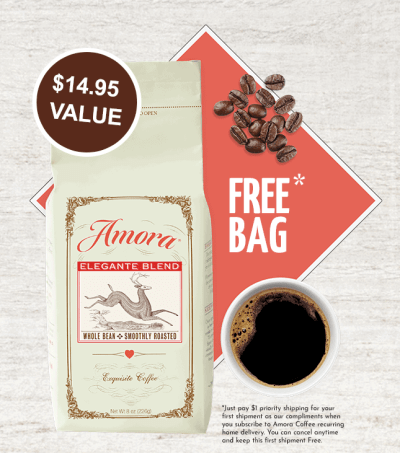 FREE Bag of Gourmet Coffee from Amora – Just Pay $1 Shipping!