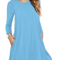Amazon: Women's Long Sleeve T-Shirt Dresses for $9.26 (Reg. $21.99)