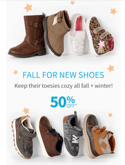 Carter's: 50% off on Kids Shoes + Free curbside pick up!