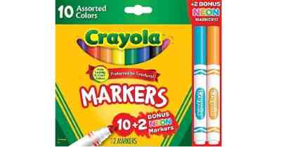 Staples: Crayola Markers, Assorted Colors, 12/Box (58-7750) $0.97 ($4.4)