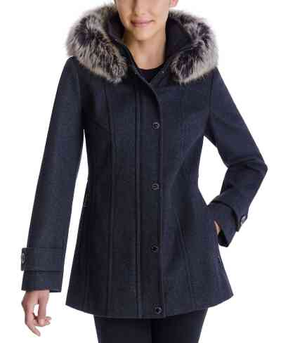 Macy's: London Fog Faux-Fur-Trim Hooded Coat For $89.99 At Reg.$225.00