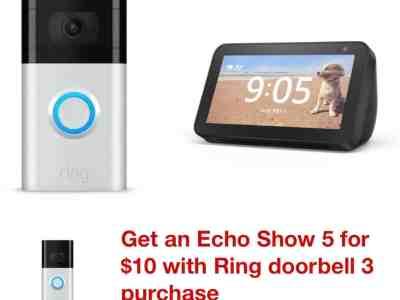 Target: Ring Video Doorbell 3 + Echo Show 5 for $149.99!!