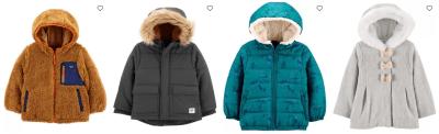 Carter's: Kids Winter Coats, Puffer Jackets + Rain Coats are on SALE!