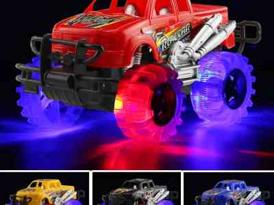 Amazon: 4 Pack 4 Colors Light Up Monster Truck Set w/ Flashing LED Wheels $10.19 ($17)