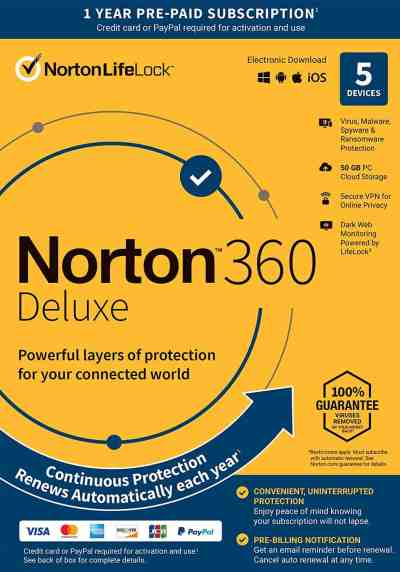 Amazon: Norton 360 Deluxe – Antivirus Software for 5 Devices with Auto Renewal, Just $19.99 (Reg $89.99)