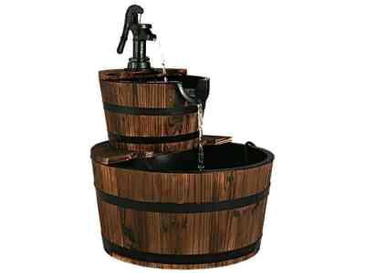 UNTILGONE: Wooden 2 Tier Barrel Waterfall Fountain For $74.99 (Reg $208.95)