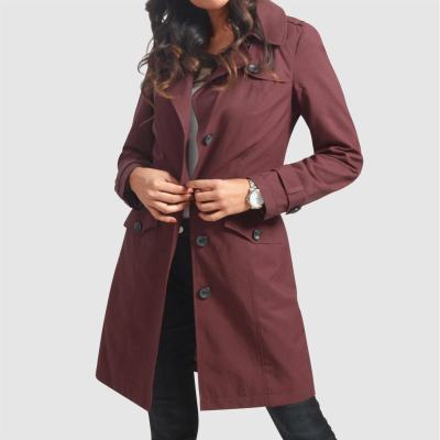 JANE: Women's Belted Burgundy Trench Coat For $69.99 At Reg.$140.00