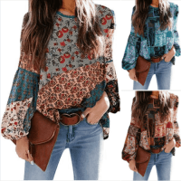 Amazon : Women's Chiffon Boho Printed Puff Sleeve Shirts Just $6.60 W/Code (Reg : $21.99)