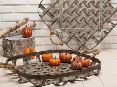 This Farmhouse Galvanized Metal Woven Tobacco Basket Tray Set keeps your home looking fresh and stylish. This set comes with 2 nesting baskets with a wide, flat basket shape. It is made of woven galvanized metal strips and adorned with whitewash and rustic details. Wall decoration or storage basket Add it to a funky gallery wall with other rustic decorations for a fresh country look Size: L: 23.75 in. L x 23.75 in. W x 2.5 in. H, S: 19.75 in. L x 19.75 in. W x 2.5 in. H Material: iron and jute rope