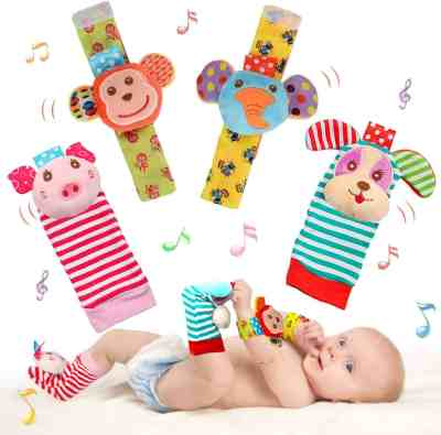 Amazon: 4 Pack Soft Baby Wrist Rattle Foot Finder Socks Set only $8.45 (Reg. $15.99)