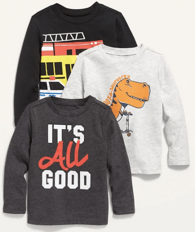 OLD NAVY: Boy's Long-Sleeve Graphic Tee 3-Pack only $6!