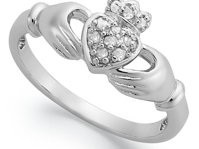 Macy's: Diamond Claddagh Ring in Sterling Silver (1/10 ct. t.w.) For $25.00 Reg.$100
