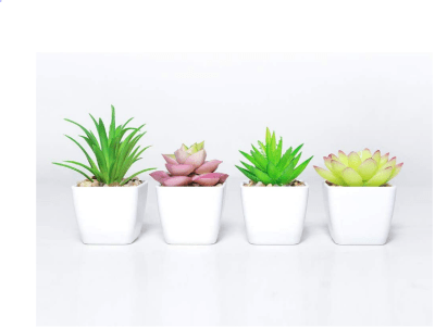 Amazon: 50%Off Fake Succulents Plants Artificial Plant Potted in Mini Square White Pots Just $5.49 w/code