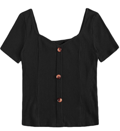 Amazon: Short Sleeve Button Front Scoop Neck Rib Knit Crop Tee Top Only $5.99 after code (Reg. $19.98)