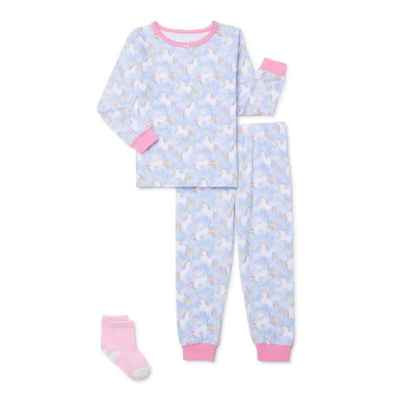 Walmart: Sleep On It Baby & Toddler Girls Long Sleeve Snug Fit Cotton Pajamas & Socks, 3-Piece Set For $12.98